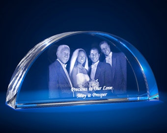 3D Laser Gifts Crystal Custom Engrave Paperweight Anniversary Arc Shaped
