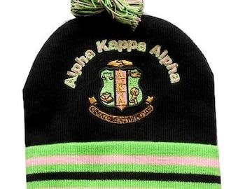 Alpha Kappa Alpha Sorority AKA Greek Letters Shield Pom Pom Beanie Hat  BEANIE1