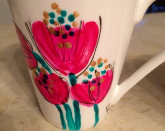 Bright pink flowers hand painted fine bone china coffee mug