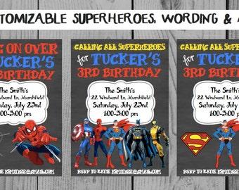 Custom Chalkboard Superhero Birthday Invitation Superhero Party Superman Invitation Spiderman Invitation Superhero Invitation