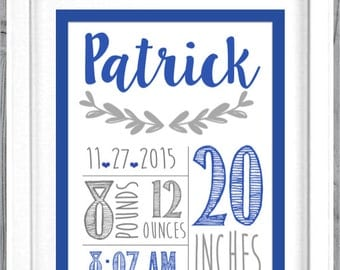 Birth Announcement Wall Art Decor Baby Boy Gift Personalized Baby Wall Art Birth Stats Print Nursery Custom Birth Print