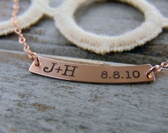 Anniversary Curved Bar Necklace- with YOUR HANDWRITING - or Text, Swing Bar Pendant-14/20 Rose Gold, Yellow Gold Filled or Sterling Silver