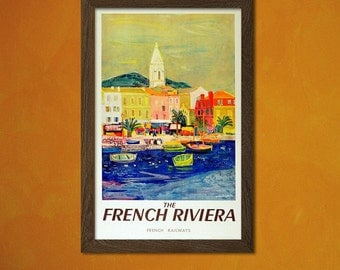 South Of France Travel Poster Vintage Travel Print French Riviera Poster Retro Travel Poster Vintage   bp