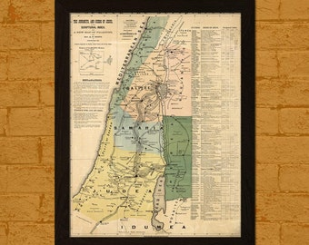 Old Palestine Map 1881 - Printed On Textured Bamboo Poster Ancient Map Of Palestine Poster Map Wall Art Birthday Gift Idea