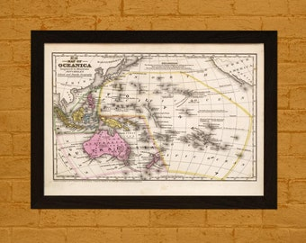 Old Australia Map 1939 Oceania Map Ancient Map Australia  Art Antique Map Poster Old Map Pacific Ocean Map