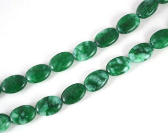 Natural Green & White Oval Agate Gemstone Beads strand 28 PCs Size 14x10mm Hole Size 1mm, healing, chakra, birthstone for Jewelry Making