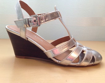 1930's inspired Silver T-Strap Wedge Sandals - 1930's Sandals - Vintage Inspired Sandals - In the Silver Moonlight