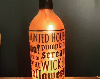 Halloween Word Collage wine bottle light