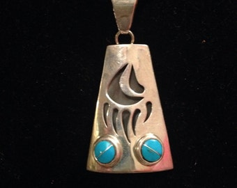 Turquoise and sterling bear claw pendant