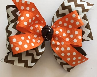 Thanksgiving Bow, Brown Chevron and Orange Polka Dot Bow, Fall Hair Bow, Brown and Orange Bow, Bow with Fall Colors, Autumn Hair Bow