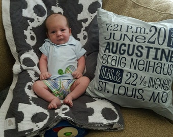 Birth stats pillow cover, personalized baby pillow