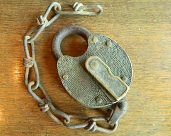 Vintage Railroad Lock, Yale Padlock, Yale Railroad, Vintage Yale, Vintage Brass Lock, Switch Lock, Antique Lock and Chain