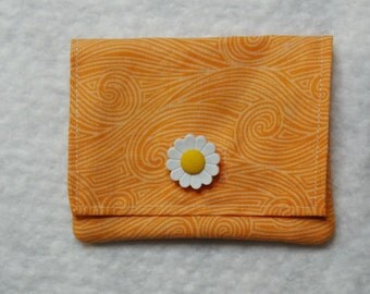 Orange swirl fabric credit card holder and cash wallet