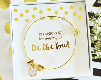 Gold Monogram Thank You Bracelet  - Bridesmaids Gifts - Bridal Party Gifts - Maid of Honor - Wedding Favors
