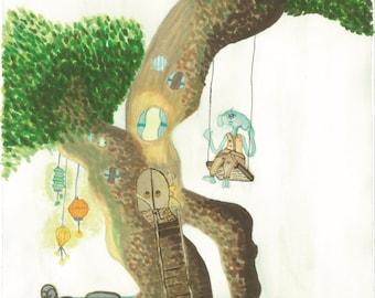 Vidor's treehouse: illustration print