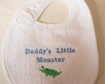 Daddy's Little Monster, Embroidered baby bib, Baby feeding bib