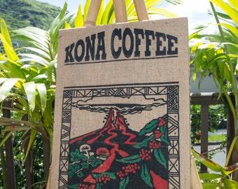 Kona Coffee - Authentic Framed Rustic Burlap Hawaii Coffee Bag