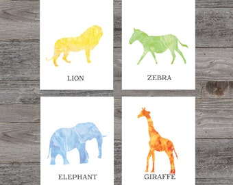 Safari animal prints. Nursery print. Set of 4 Instant download PDF diy digital wall art. Watercolor Zoo Elephant Zebra Lion Giraffe print.
