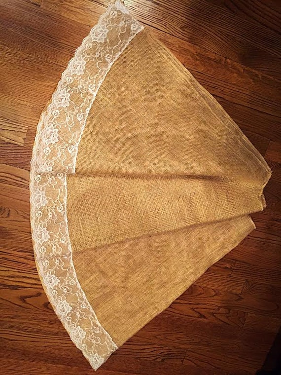Burlap and lace christmas tree skirt 60 by for 60 burlap