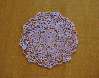 Crochet doily / lace / violet / 10.5 inches / round