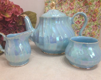 Sadler Iridescent Blue Swirl Teapot Set with Sugar and Creamer