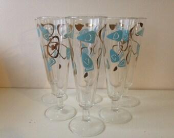 Federal Glass Boomerang Amoeba Pilsner Glasses, Set of 6