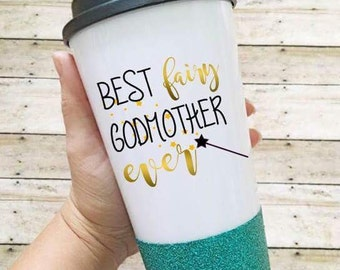 Fairy godmother coffee cup/glitter