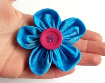 Fabric Flower Brooch in Blue with a Pink Button Great Fashion Accessory for any Occasion