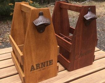 Personalised Wood Beer Caddy, Beer Crate, Beer Carrier, Mens Gift, Craft Beer, Christmas Gift, Man Cave, Beer Bottle Opener
