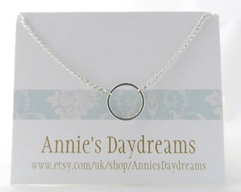 Girls Silver Ring Necklace -  Childs Silver Hoop Necklace - Children's Hoop Pendant
