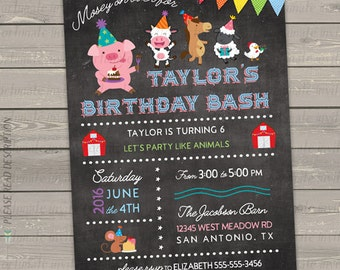 farm birthday invitation, farm animal birthday invitation, pig cow horse printable birthday invitations boy girl, digital or printed invites