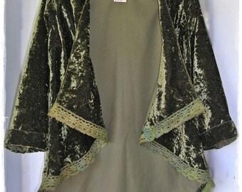 CRUSHED VELVET Gypsy Swallow Tail Cutaway Coat - Mossy Green Waistcoat Tailcoat, Hi-Lo Hem Boho Festival Jacket,Tie Dyed Crochet [J-101]