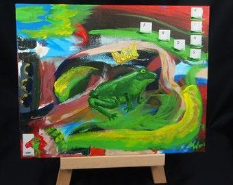 Frog King... press enter frog King - acrylic on canvas - original artwork 30 x 24 cm unique free shipping
