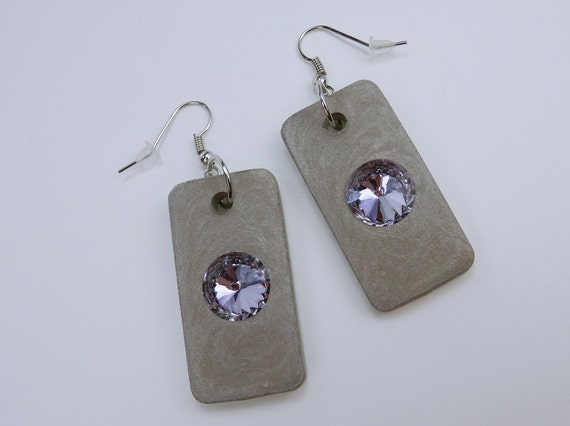 Earrings made of concrete with purple rhinestones on silver-colored earrings concrete jewelry purple concrete jewelry pendant earrings