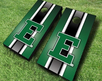 Officially Licensed Eastern Michigan Striped Cornhole Set with Bags - Bean Bag Toss - Eastern Michigan Cornhole - Corn Toss - Corn hole