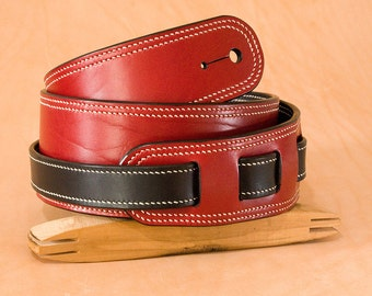 Hand made and stiched leather guitar strap