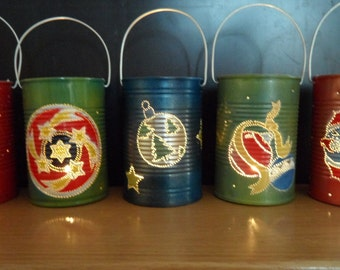 """IT'S CHRISTMAS TIME 2015 Tin Can lanterns (with handle)  (x05 """"Various"""")"""