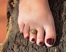 Swril Toe Ring, Gold Toe Ring, Quartz Toe Ring, Foot Ring, Boho Toe Ring, Brass Toe Ring, Summer Toe Rings, Toe Ring Gold, Beach Jewelry