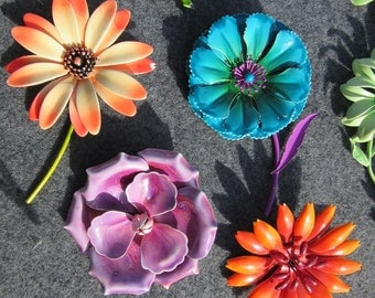 Bold, Vintage, Flower Pins, Metal, Enamel, Statement, Brooches, 12 options, great condition