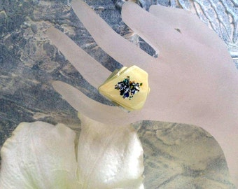 Fused glass ring - statement ring-Sand and blue ring - Fused glass jewelry - Adjustable ring