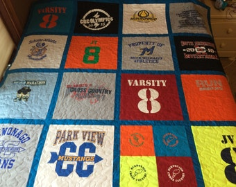 DOUBLE SIDED Tshirt Quilt - Custom Made using YOUR Tshirts (deposit)