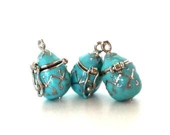 Baby Blue Locket THREE / Prayer Box Pendant / Blue Lockets  / Baby Blue Wish Box / Secret Compartment / Hidden Compartment / Aromatherapy
