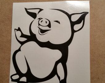 Cute Pig Vinyl Decal - Pig Wall Art - Pig Car Decal - Pig Wall Vinyl - Piglet Decal - Pig Decal - Pig Wall Sticker - Piglet Cute Art