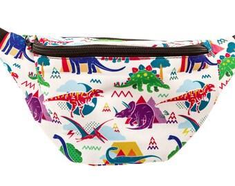 Dinosaur Fanny Pack - Cute cool rave festival waist bag with Hidden Pocket