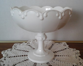 Milk Glass Compote, Indiana Glass, Garland, Triple Teardrop