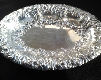 Gorham Silver Dish, Silver Plate Oblong Bowl, 50s Versailles Pattern
