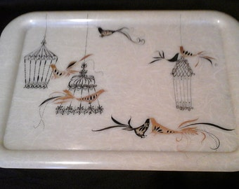 Plastic Mid Century Tray, Serving Tray with Black and Gold Birds and Birdcages, Fiberglass Look Tray