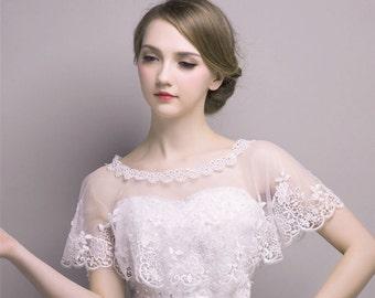 Bridal wedding dress lace cape wrap, Ivory shrug bolero Capelet jacket cover up cloak bride accessories