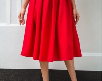 Red midi skirt / Spring Autumn Summer skirt for women / casual skirt / skirt Cocktail Party / office business woman