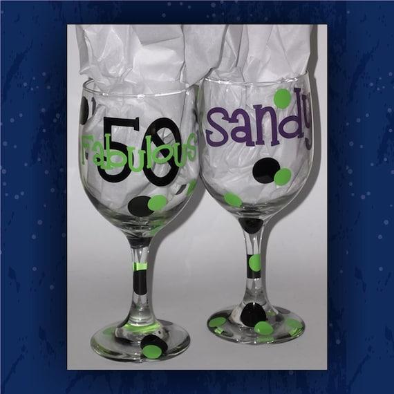 Fabulous 50 Birthday Wine Glass Custom By Creativestudio805